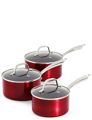 Metallic Effect 3 Piece Saucepan Set, , catlanding