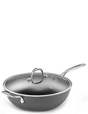 Chef Hard Anodised 30cm Wok, , catlanding