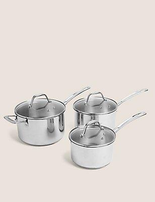3 Piece Stainless Steel Saucepan Set, , catlanding