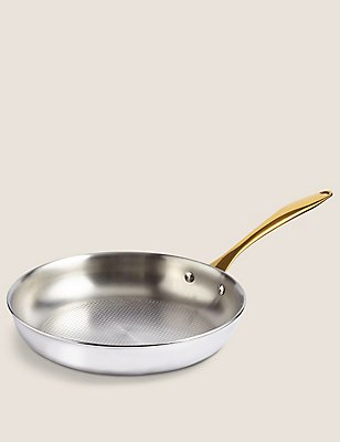 Chef Tri Ply 24cm Textured Fry Pan, SILVER MIX, catlanding