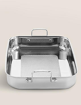 Chef Try Ply Textured Roaster, SILVER, catlanding