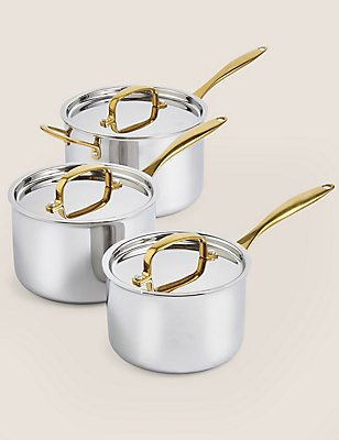 Chef Tri Ply 3 Piece Saucepan Set, SILVER MIX, catlanding