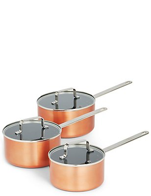 3 Piece Loft Copper Effect Pan Set, , catlanding