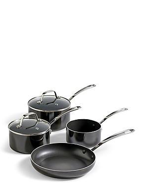 4 Piece Black Saucepan & Fry Pan Set, , catlanding