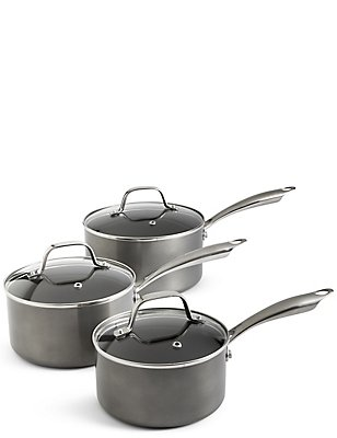 3 Pack Metallic Saucepan Set, , catlanding