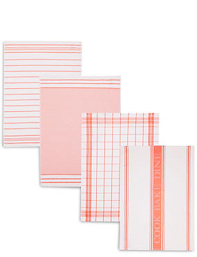 4 Pack Assorted Design Tea Towels, CORAL, catlanding