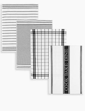 4 Pack Assorted Design Tea Towels, BLACK, catlanding