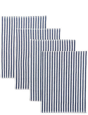 4 Pack Basket Weave Tea Towels, NAVY, catlanding