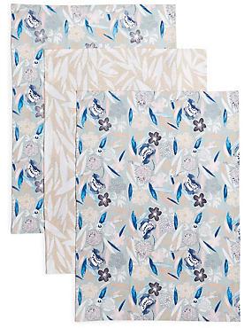 3 Pack Loft Print Tea Towels, , catlanding