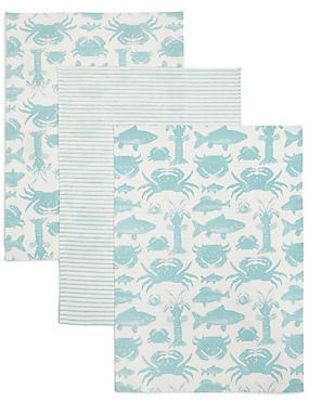 3 Pack Seaside Print Tea Towel, , catlanding