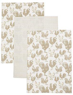 Set of 3 Printed Tea Towel, , catlanding
