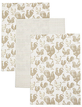 Set of 3 Hens Print Tea Towel, , catlanding