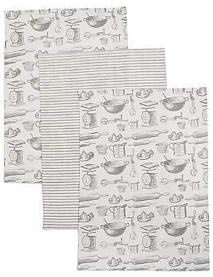 Set of 3 Bake Print Tea Towel, , catlanding