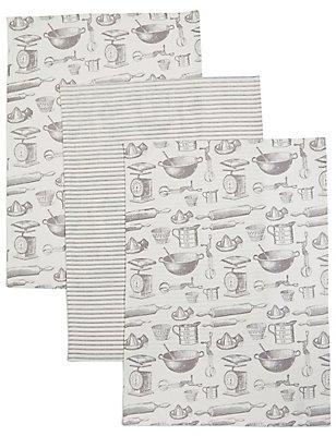 Set van 3 theedoeken met bakprint, , catlanding