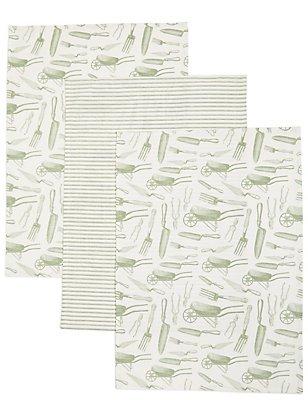 3 Pack Garden Print Tea Towel, , catlanding