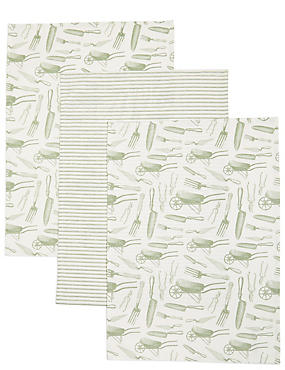 Lot de 3torchons à vaisselle avec imprimé jardin, , catlanding