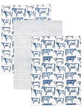Lot de 3torchons à vaisselle avec motif vache, , catlanding