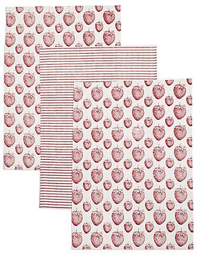 Set of 3 Strawberry Print Tea Towel, , catlanding