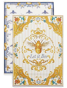 Ardingly– Lot de 2torchons à vaisselle avec motif abeilles, , catlanding