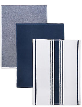 3 Pack Assorted Hand Towels, NAVY, catlanding