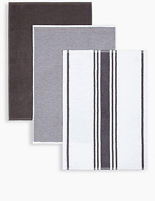 3er-Pack verschiedene Handtücher, DUNKELGRAU, catlanding