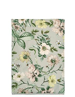 Dovecote Floral Print Single Tea Towel, , catlanding