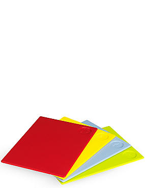4 Pack Colour Coded Chopping Boards, , catlanding