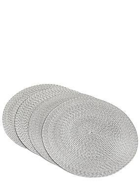 Lot de 4sets de table tissés à motif teint par espacement, CHARBON, catlanding