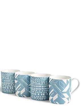 Set of 4 Geo Mugs, , catlanding
