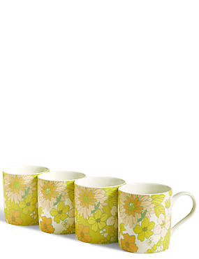 Set of 4 Floral Mugs, , catlanding