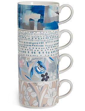 Set of 4  Stacking Mugs, , catlanding