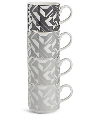 Set of 4  Stacking Espresso Mugs, , catlanding