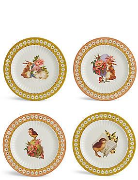 Lot de 4grandes assiettes à motif Pâques, , catlanding