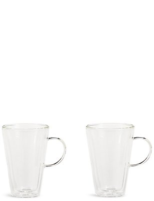 Set of 2 Double Walled Latte Glasses, , catlanding