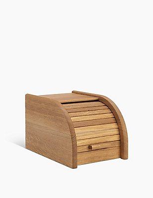 Small Oak Wood Bread Bin, , catlanding
