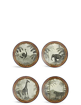 Set of 4 Safari Melamine Dinner Plates, , catlanding