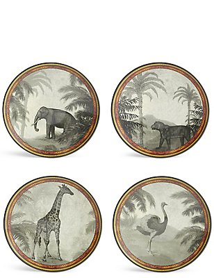 Set of 4 Safari Melamine Side Plates, , catlanding