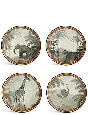 Safari - Set van 4 bordjes van melamine, , catlanding