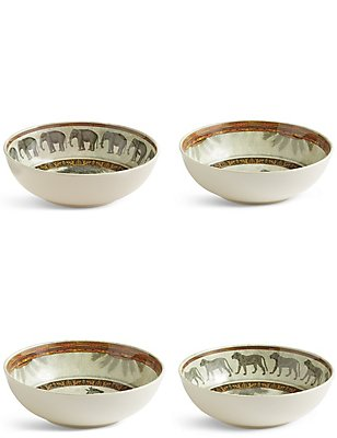 Set of 4 Safari Cereal Bowl, , catlanding
