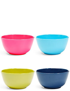 Set of 4 Mixed Colour Melamine Bowls, , catlanding