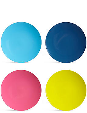 Set of 4 Melamine Dinner Plates, , catlanding