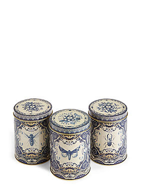 Dovecote Set of 3 Tea, Coffee & Sugar Tins, , catlanding