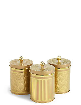 3 Pack Tea, Coffee & Sugar Tins, , catlanding