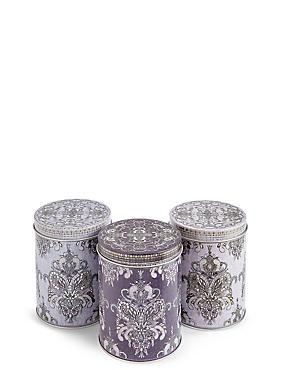 Set of 3 Winter Retreat Tea, Coffee & Sugar Tins, , catlanding