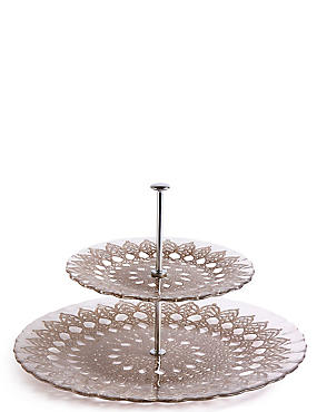 Pressed Glass 2 Tier Cake Stand, , catlanding