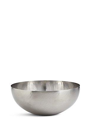 Hammered Metal Serving Bowl, SILVER, catlanding
