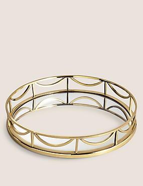 Deco Round Mirror Tray, GOLD MIX, catlanding
