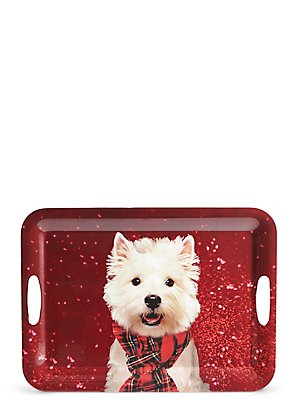 Christmas Dog Rectangular Tray, , catlanding