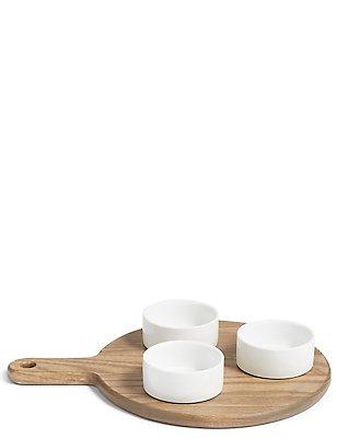 3 Pack Ash Wood Dip Bowl Platter, , catlanding