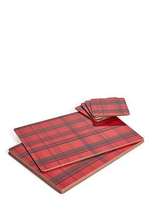 Set of 4 Tartan Placemat & Coaster, , catlanding